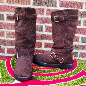 Coach Chocolate Brown Winter Calf Boots